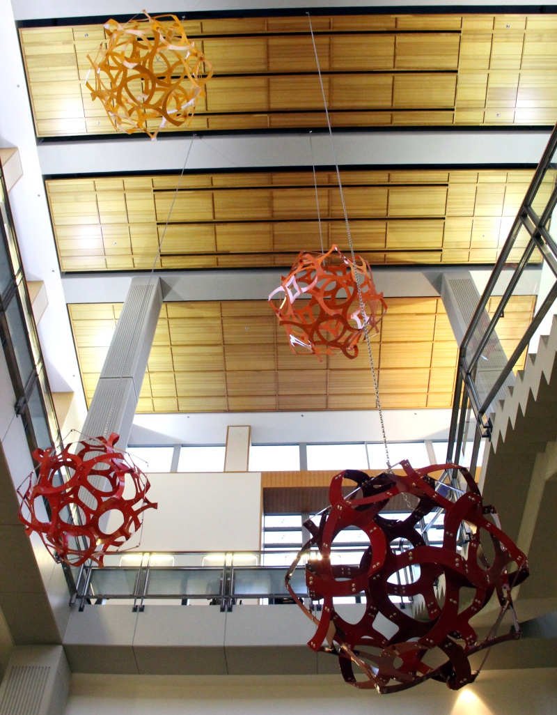 These Four Orbs Make Up My Sculpture Called Geometry Ascending A Staircase,  Hanging In The Atrium Of The CIEMAS Engineering Building At Duke University.